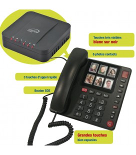 Grandes touches telephone fixe senior