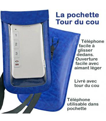 Pochette de rangement transparente bleue Tour de Cou