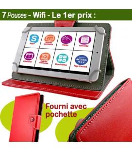 tablette senior 7 pouces pochette rouge