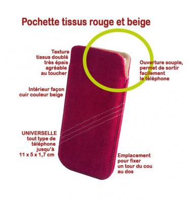 Pochette tissus rouge et beige