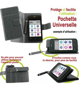 Pochette facon cuir grise inclinable